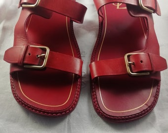 a5b72c15408 YSL Yves Saint Laurent Sandals Mens Summer Shoes All Leather Deep Red  Lovely Condition See Photos