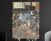 Utagawa Kuniyoshi Painting Fine Art Print, Nachtelijke aanval op het Horikawa paleis, Japanese Home Decor, Samurai Wall Art