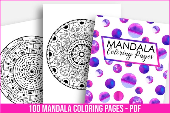 Mandala Coloring Pages Printable Planner Stress Anxiety Relief Etsy