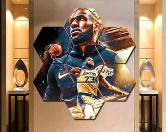 3f9dd0a7c Lebron James Painting On Canvas Wall Art 7 Hexagon Panels L.A. Lakers Decor Print  Framed Poster Picture HD Gift Idea.