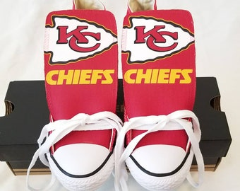 new styles addc1 f7a27 Custom Kansas City Chiefs Converse   Custom Kansas City Chiefs Chucks    Toddler   Youth Size   Version 1