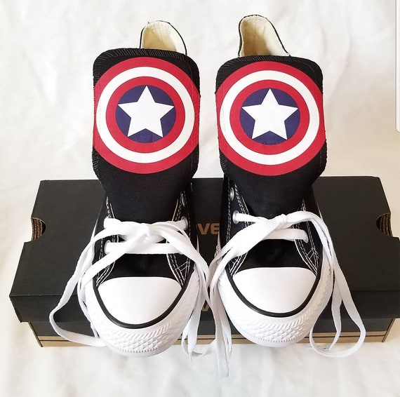 Custom Captain America Converse | Custom Captain America Chucks | Toddler Youth Size | Version 1