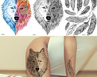 f816fd9ea COKTAK Henna Wolf Temporary Tattoos Coyote Sticker Fake Waterproof Feather  Minimalist Tattoo For Men Body Art Drawing Arm Chest Sheets Tatoo
