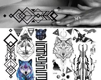 af0b9bf9df88f COKTAK Black Arrow Geometric Animal Temporary Realistic Tattoos Sticker For  Men Fake Waterproof Forest Tattoo Body Art Arm Legs Tatoos Paper