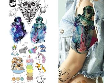 943829073 COKTAK Watercolor Astronaut Temporary Tattoos Realistic Sticker Cute Fake  Tattoos Paper For Men Women Kids Body Art Arm Legs Sheets Tattoos