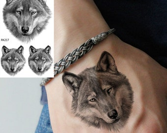 f77af3c8c COKTAK 3Pieces Same Style Black Wolf Temporary Tattoos Sticker 3D Body Art  Arm Legs Tattoos For Men Realistic Fake Waterpoof Coyote Tattoos