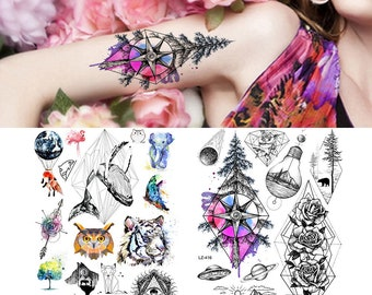 4b9d8170964b9 COKTAK Geometric Pine Temporary Tattoos Watercolor Sticker Fake Waterproof  Realistic Animal Tattoo Body Art Arm Legs Sheets Tatoos For Men