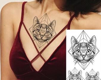4b4d669c6 COKTAK 3Pieces Same Style Geometric Cat Temporary Tattoos Sticker Fake Dot  Pattern Lion Waterpoof Tattoos Realistic Body Art Chest Tattoos