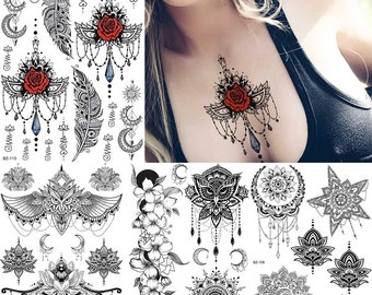 4f53d1c1401e2 COKTAK Mandala Flower Black Henna Temporary Tattoos Chains Fake Jewelry  Sticker Waterproof Sheets Tattoo For Women Body Art Arm Chest Tatoos
