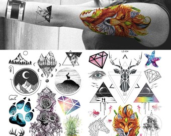 a3af85c67 COKTAK Watercolor Wolf Totem Temporary Tattoos Realistic Sticker Geometric  Mountain Fake Coyote For Men Women Body Art Arm Sheets Tattoos