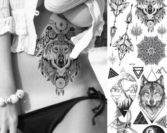 f99540969 COKTAK Dreamcatcher Wolf Temporary Tattoos Mandala Flower Sticker Realistic  Fake Body Art Arm Wasit Tatoo Waterproof Coyote Tattoo For Men