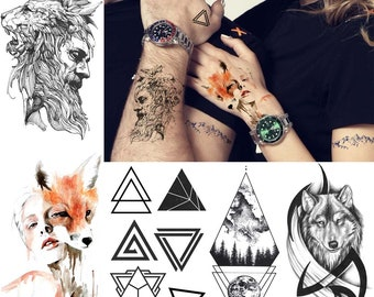 200b1ecce COKTAK 3Pieces Same Style Fashion Wolf Fox Temporary Tattoos Fake Waterpoof  Realistic Sheets Sticker Body Art Arm Wasit Tattoos For Adult