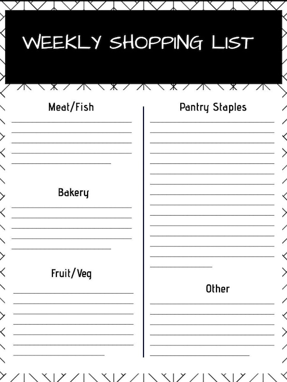 photograph about Pantry Staples List Printable identified as Weekly Browsing Listing - PRINTABLE
