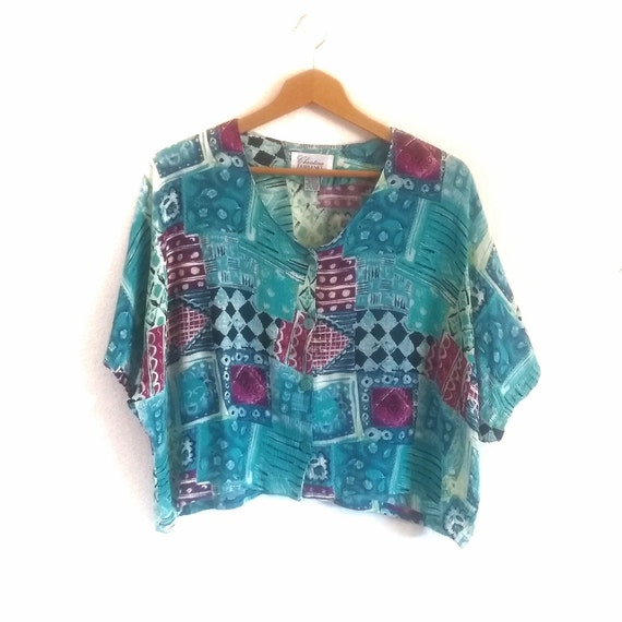 Vintage LYNG Tunic Top Size 2X Lagenlook Abstract Art to Wear Black Blue
