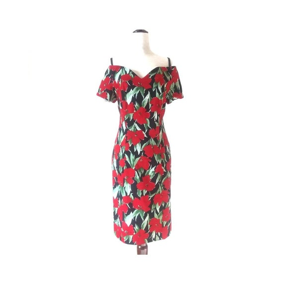 Vintage Pin Up Wiggle Dress | 1980s Floral Off the