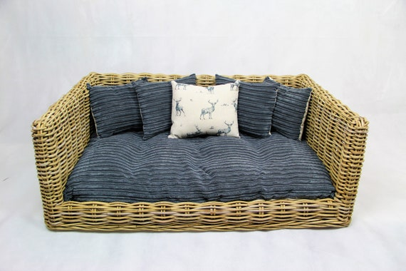 Awesome Luxury Rattan Dog Cat Sofa Bed Available In 3 Sizes Grey Cord Stag Cushion Andrewgaddart Wooden Chair Designs For Living Room Andrewgaddartcom