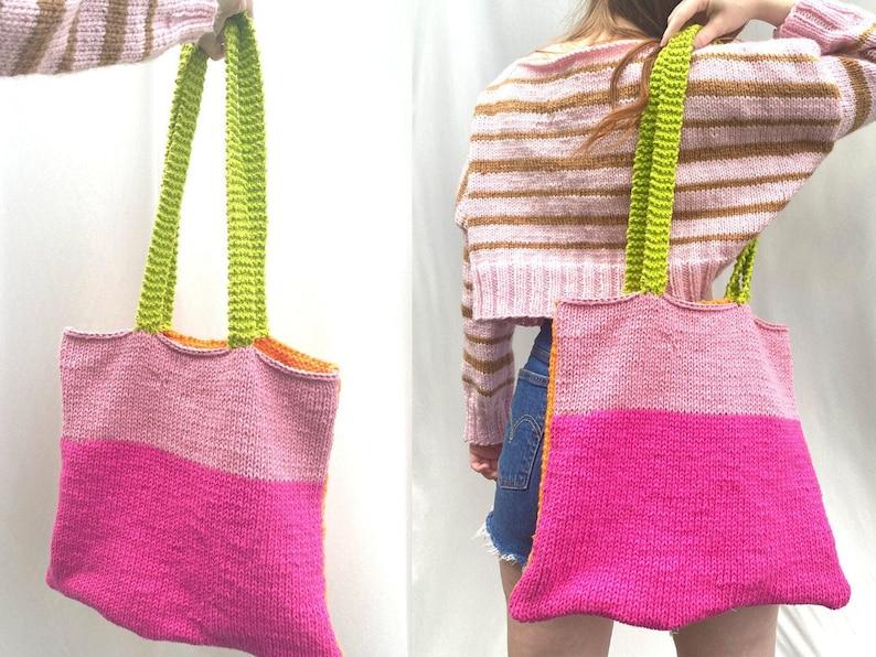 KNIT TOTE BAG Beginner Knitting Pattern image 0