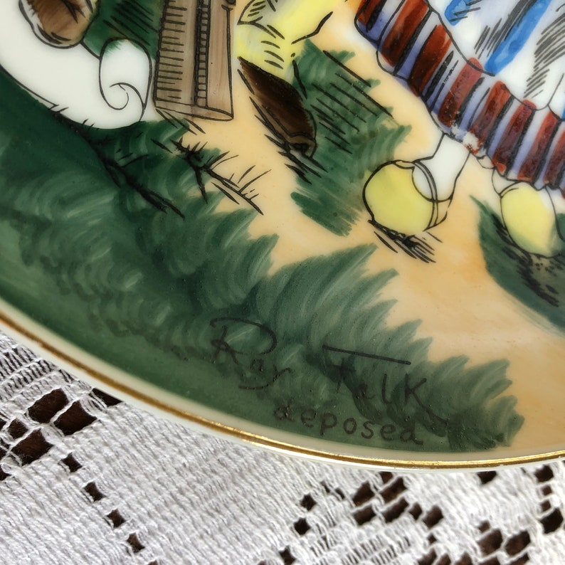Ray Falk Deposed Handpainted Decorative Wall Plate Welsh Couple Folk Midcentury