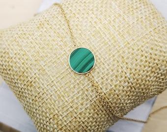 18k Solid Gold 10mm Cushion Shape Flat Cut Mother of Pearl Bracelet Adjustable Length 7-8 Inch Anniversary Love Birthday  Gift Handmade