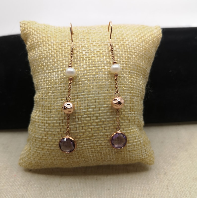 925 Silver and Rose Gold Plated Hanging Earring Hook with 8mm Round Double Sided Checkerboard Pink Amethyst /& 5mm White Cultural Pearl