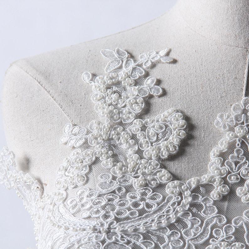 Bridal hand beaded lace lace trim Alencon Lace Trim Bridal veil trim Bridal Lace trim beaded veil trim