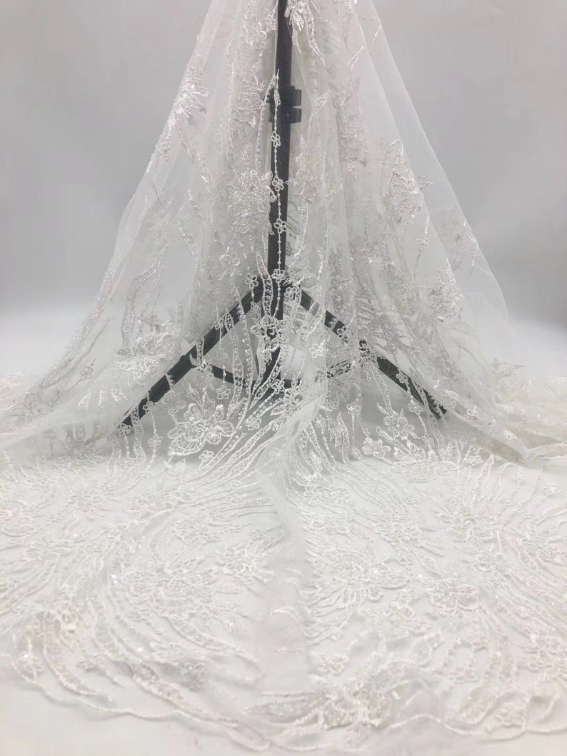white lace Sequin beaded lace fabric bridal lace sequin lace embroidery floral lace 1 yard wedding lace