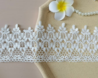 2 yards white cotton lace fabric, vintage lace trim, white scallop trim, lace trim on the skirt