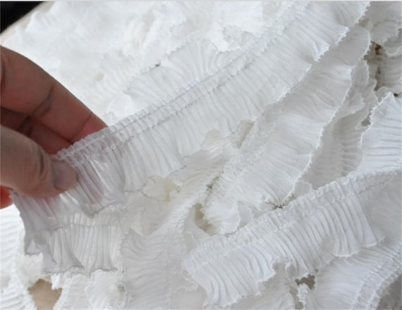 2Yds White Accordion Pleated Lace Trims DIY Skirt Doll Edge Clothes 2.7/'/' WidW