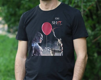 T-shirts Red Balloon T-shirt Scary Clown Halloween Stephen Kings It Inspired Pennywise Funny Durable In Use
