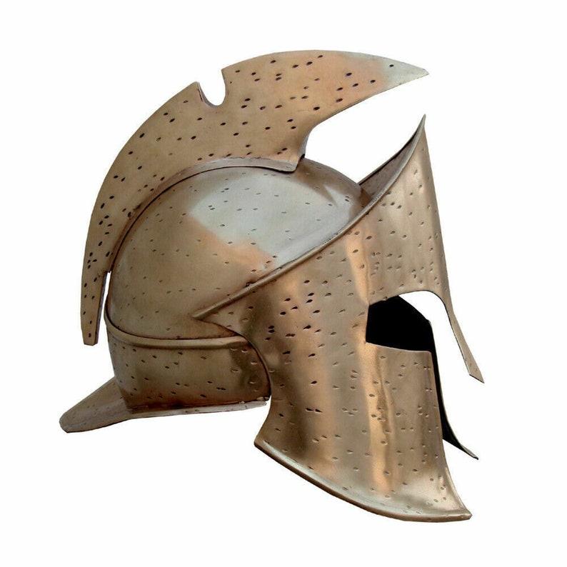 Steel helmet 300 movie Greek spartan helmet leather liner for Halloween