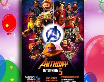Avengers End Game Lego Invitation Superhero Birthday Endgame