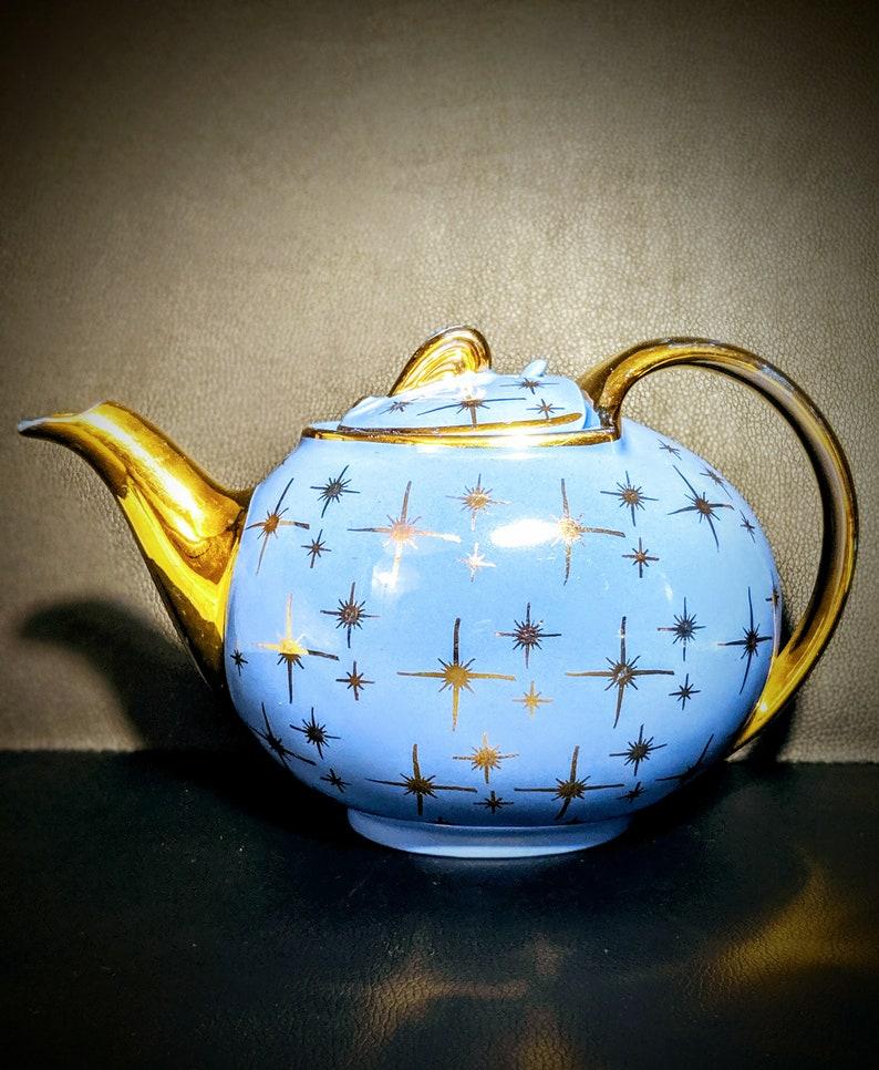 Vintage Hall Teapot Cadet Blue and Gold Starburst Celestial Teapot Atomic  Teapot Mid Century Modern Teapot MCM Teapot 1950s Teapot