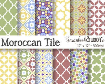 Moroccan Tile Scrapbook Paper - Digital Scrapbooking Printable Pattern JPEG - Personal and Small Commercial Use!