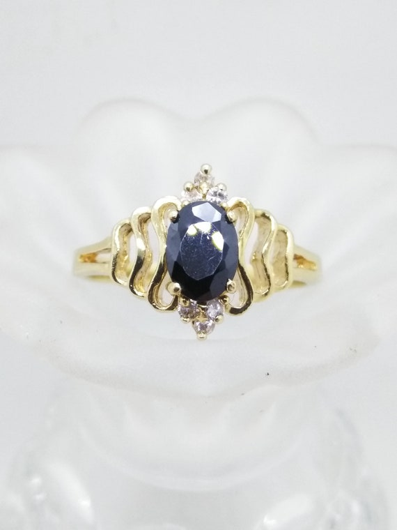 Size 9, 14k Filigree Sapphire Ring, Size 9 Solid 1