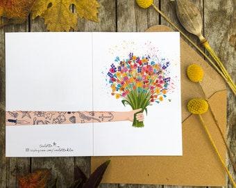 "Greeting Card Flowers ""Tattoo"" Illustration - Wedding - Birthday - Mothers' Day - for him-boyfriend"
