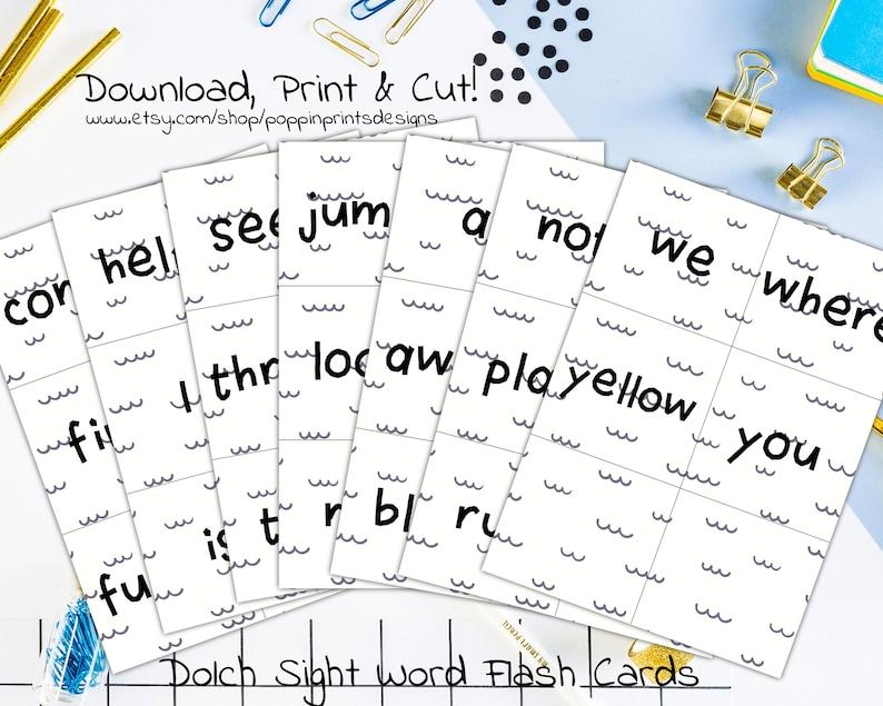 Preschool Dolch Sight Word Flashcard Preschool Curriculum Reading Ready  Prek Flashcards Preschool Study Cards Dolch Sight Words Wave Print
