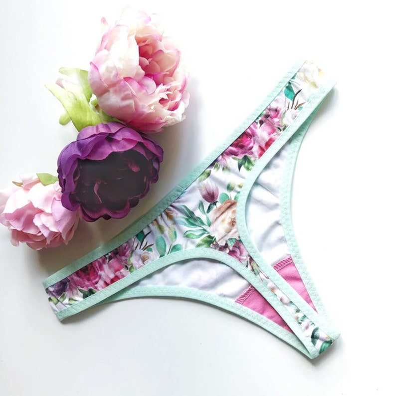 Floral woman panties Best choice of lingerie for summer Gift idea for girlfriend Romantical accesories for bridesmaid Roses mint underwear