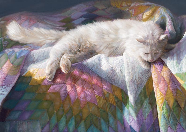 Cat Laying on a Quilt Oil Painting Vintage Nancy Noel Art image 0