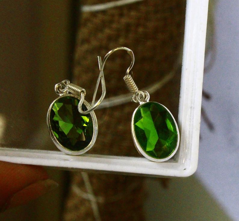 Beautiful Earrings As Gift 27.10 Ct Certified 925 Sterling Silver Earrings Natural Green Moldavite Earrings Beautiful Earrings