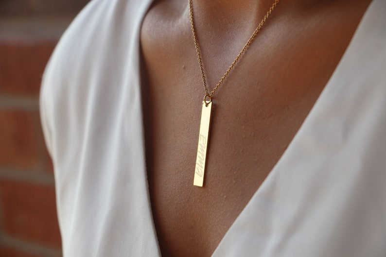 18k Plated Personalized Bar Necklace Custom Name Graduation gift Women Name Necklace Name Plate Necklace Initial Necklace Gold Bar Necklace