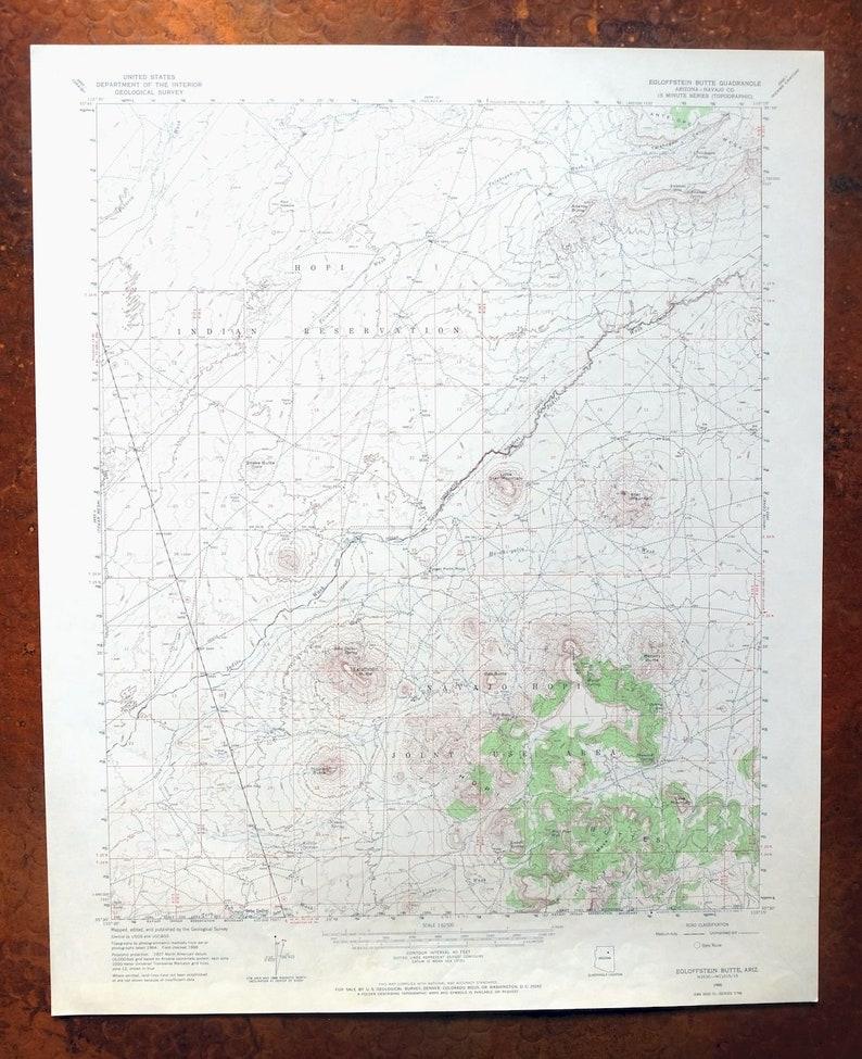 Egloffstein Butte Hopi Navajo Arizona Vintage Original USGS Topo Map 1966 15-minute Topographic