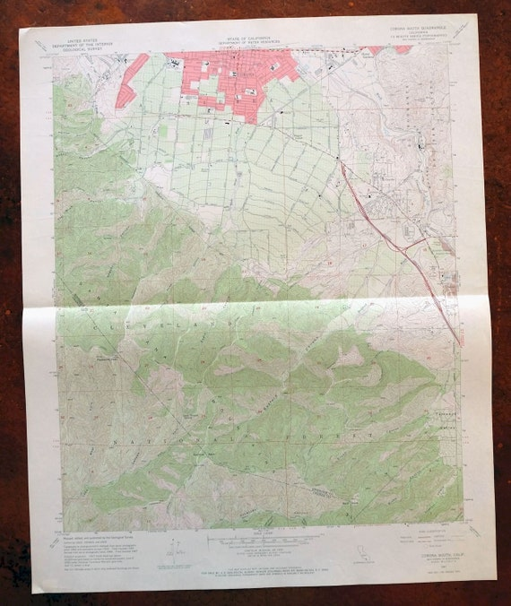 Corona South California Vintage Original USGS Topographic Map 1967 Home Gardens El Cerrito 7.5-minute Topo