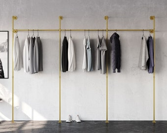 Clothes rail wardrobe tubes in industrial design made of golden water pipes - suitable for chests of drawers