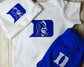 Duke Blue Devils Watching With Daddy Basketball Baby Short Sleeve Bodysuit
