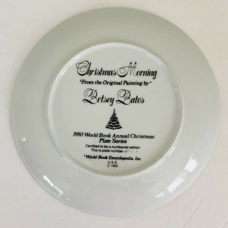 Betsey Bates Christmas Morning Plate 1980 World Book Annual Series Collectible