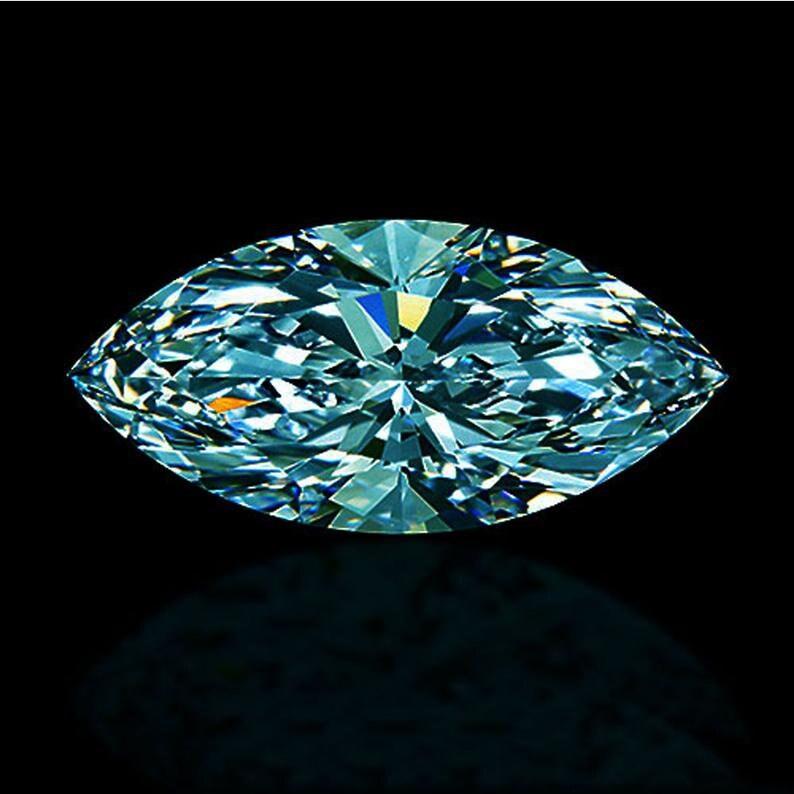 12.40 x 7.70 MM 3.12 Ct Marquise Cut Loose Moissanite vivid Blue Moissanite Marquise Blue Color for making Ring-Pendant Collection Fancy cut