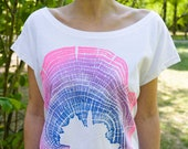 Women Organic cotton T-shirts Handmade Color white Wood Grain Oak