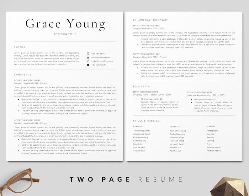 Resume Template Classic Resume CV Template Clean Resume Professional Resume Resume Modern Resume Resume Design Resume Word