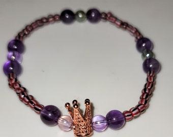 Oya Spiritual Amethyst Bracelet with Crown Charm   Orisha Oya Bracelet   Charm bracelet