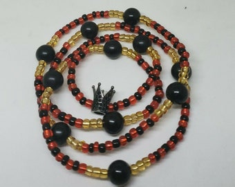 Elegua Orisha Power Necklace with Crown Charm   Black Red Yellow Beaded Necklace   Handmade Guardian of Crossroads Necklace
